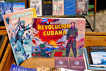 Books for purchase in Plaza de Armas, Havana, Cuba, West Indies, Central America