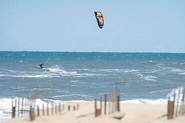 Kiteboarder Ian Brown in the Atlantic Ocean waves off Nags Head, NC USA. MR