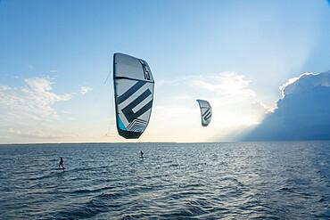 Foiling kiteboarders on the Pamlico Sound, Nags Head, North Carolina USA