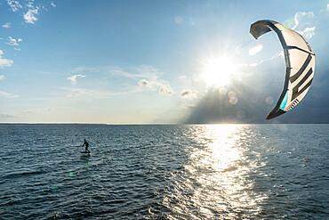 Foil kiteboarding on the Pamlico Sound, Nags Head, North Carolina USA