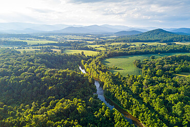 Rapidan River flowing into central Virginia from the Shenandoah Mountains.