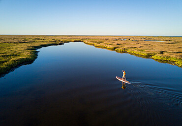 Stand up paddle boarder paddles through a Chesapeake Bay salt marsh near Hampton, Virginia US