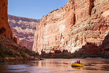 Rafters on the Colorado River through the Grand Canyon. Arizona, USA