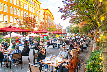 Pandemic Outdoor dining in the streets of Bethesda, Maryland USA