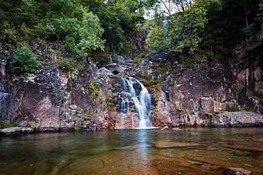 Tahiti waterfall in Geres National Park, Norte, Portugal, Europe