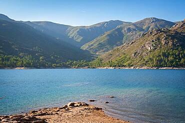 Landscape of Lake and mountains in Vilarinho das Furnas Dam in Geres National Park, Norte, Portugal, Europe