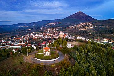 Drone aeiral view of Mondim de Basto with Nossa Senhora da Piedade Church and Senhora da Graca Sanctuary, in Portugal