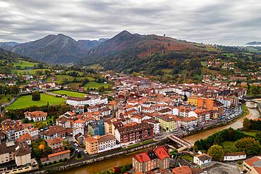 Cangas de Onis drone view in Asturias, Spain