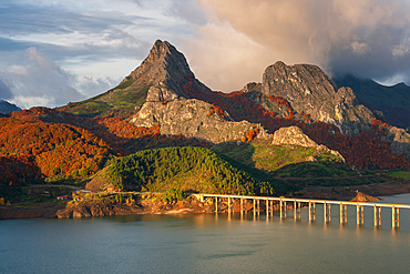 Mountain range landscape during Autumn in Picos de Europa national park, Spain