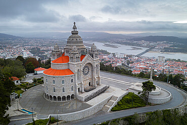 Santa Luzia church sanctuary drone aerial view in Viana do Castelo with city and river Lima on the background, in Portugal