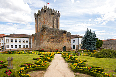 Chaves city historic castle with beautiful flower garden in the north of Portugal