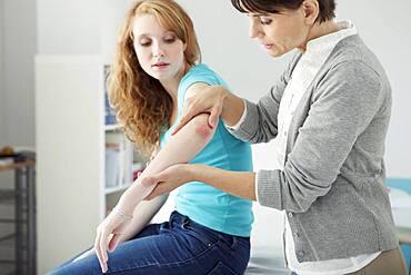 Dermatology consultation woman