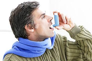 Asthma treatment, man