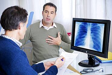Patient consulting for breathing difficulties.