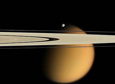 Saturn's Ring with Titan and Epimetheus