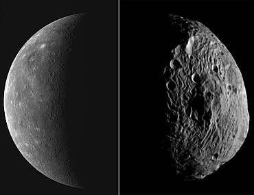 Mercury and Vesta Asteroid, Comparison