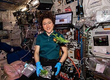 Astronaut Christina Koch with Space Veggies