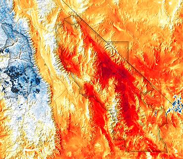Hottest Temperatures Recorded at Death Valley, Satellite Data Map