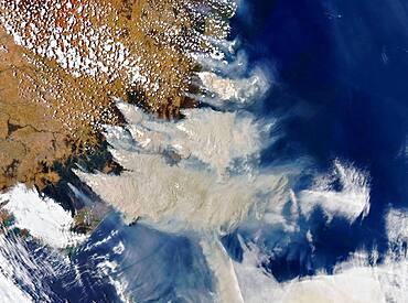 Australia Bushfire Smoke Plumes, Satellite View