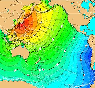 Tsunami Map, Kii Peninsula Earthquake, 1944