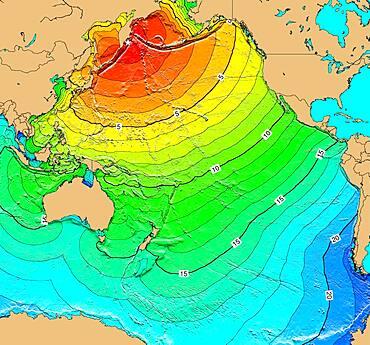 Tsunami Map, Kamchatka Earthquake, 1923