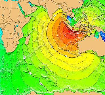 Tsunami Map, Krakatoa Eruption, 1883