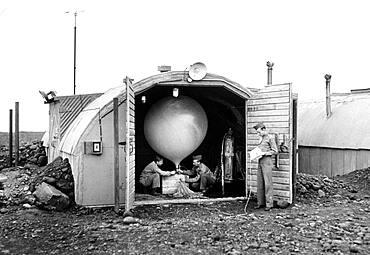 Launching Weather Balloon, 1944