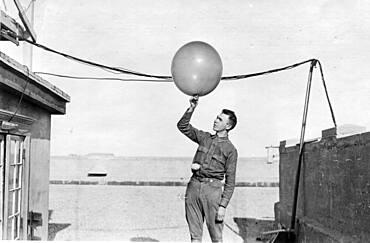 Signal Corps Checks Weather Balloon, 1918