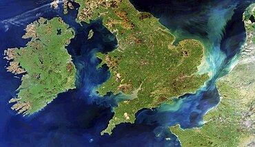 British Isles and northern France, satellite image