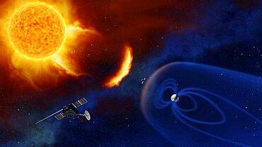 Space weather observation satellites, artwork