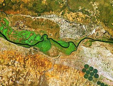 Okavango River, Namibia and Angola, satellite image