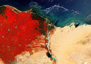 River Nile Delta and Suez Canal, Egypt, satellite image