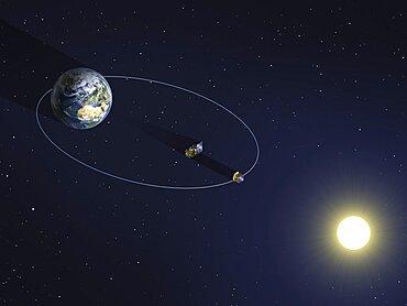PROBA-3 satellites in orbit, artwork