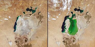 Aral Sea in 2014 and 2000
