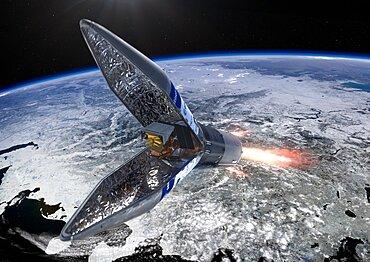 Sentinel-5P satellite inside Rockot fairing, artwork