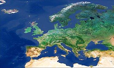 Europe, Sentinel-3A satellite image