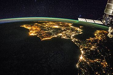 Strait of Gibraltar at Night from Space