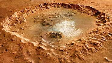 Crater in Erythraeum Chaos, Mars