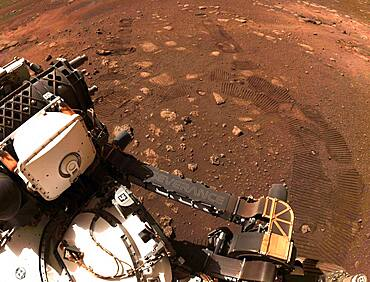 Perseverance Rover's Tracks on Mars