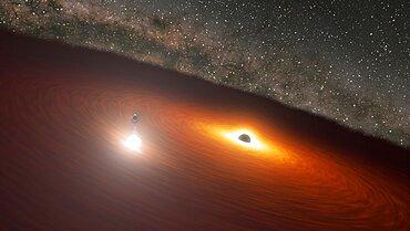 Black Hole Disk Flare in Galaxy OJ 287, Artist's Concept