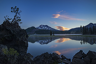 Sparks Lake, South Sister and Broken Top from the Ray Atkeson Memorial Trail; Deschutes National Forest, Oregon.