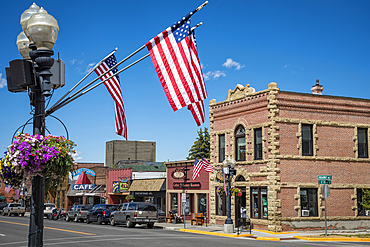 Downtown Red Lodge, Montana, on the Beartooth Highway, a National Scenic Byways All-American Road.