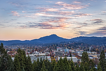 Eugene city view from Skinner Butte to Spencer Butte.