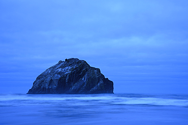 Face Rock at dusk; Bandon Beach, southern Oregon Coast.