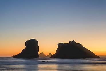 Sea stacks at Bandon Beach on the southern Oregon coast.
