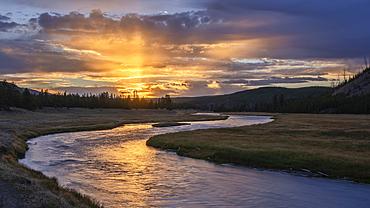 Madison River sunrise; Yellowstone National Park.