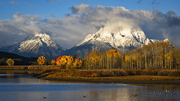 Mount Moran and the Teton Range from Oxbow Bend on the Snake River in Grand Teton National Park, Wyoming.