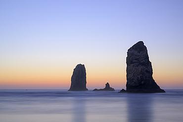 The Needles at dusk, Cannon Beach, northern Oregon Coast.
