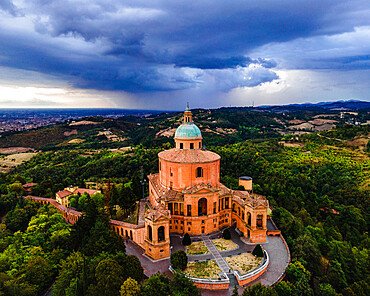 Sanctuary of Madonna di St. Luca, the symbol of Bologna, at sunset during a storm, Emilia Romagna, Italy, Europe