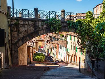 Perugia's Aqueduct street with its famous bridge